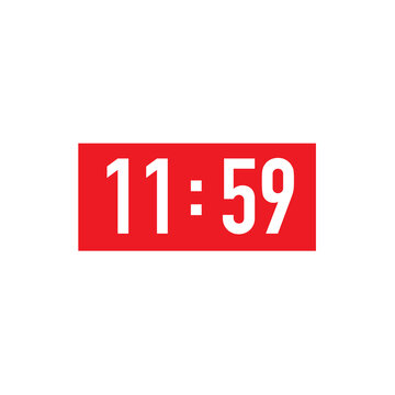 Red square retro wall clock to 12 hour. 11 59 23 59 time new year 2021 vector art image illustration, isolated on white background, eps10