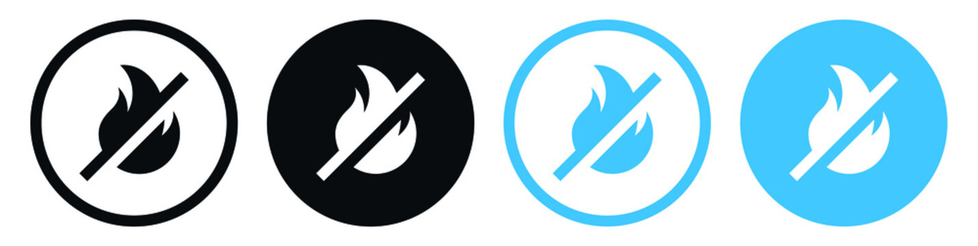 No Fire icon symbol, no flame logo sign for apps and websites