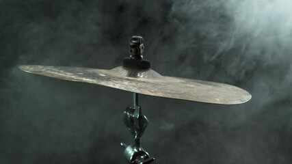 Fototapete - Super slow motion of drummer banging on cymbal. Filmed on high speed cinema camera, 1000 fps.