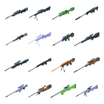 Sniper weapon icons set. Isometric set of sniper weapon vector icons for web design isolated on white background