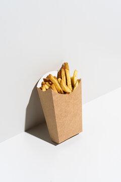 Set of fries on white background