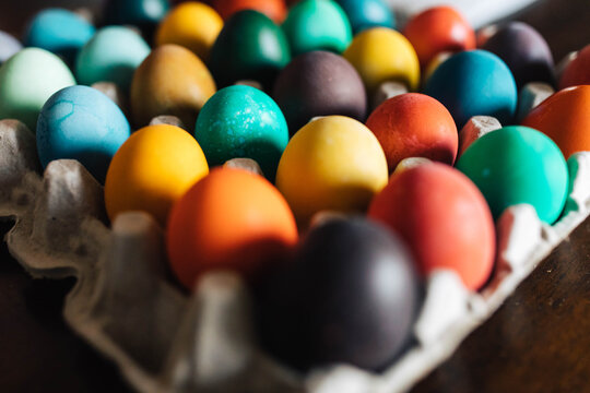 Dyeing Colorful Easter Eggs at Home with Children