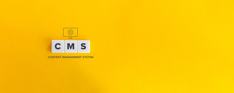 CMS (Content Management System) Concept and Banner with Copy Space. Block letters on bright orange background. Minimal aesthetics.