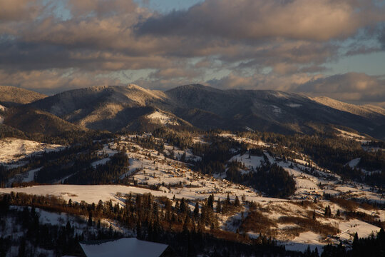 Wonderful view on surrounding snowy mountains.