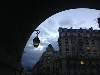 night in Paris, street lights and traditional architecture, France Fotomurales