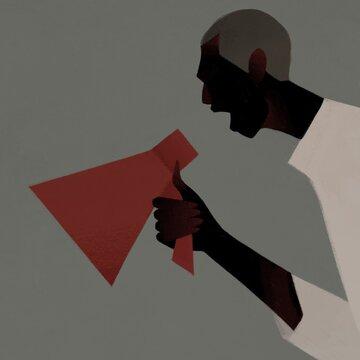 black man shouting into a megaphone. Black life matters concept