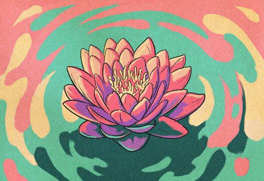 Lotus Flower Retro Illustration
