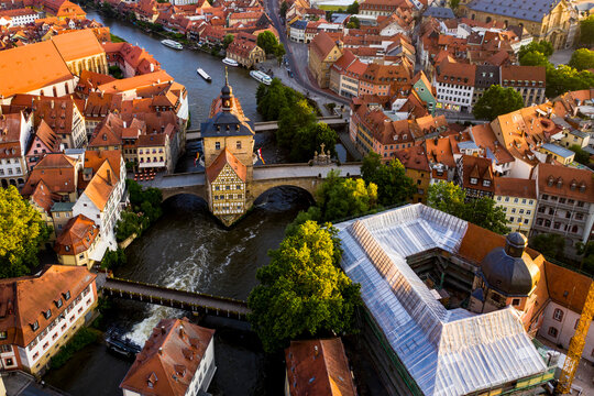 Regnitz river flowing between residential building of old town at Bamberg, Bavaria, Germany