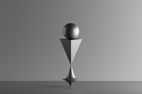 Three dimensional render of metallic top spinning under geometric pyramid and sphere
