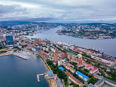 Russia,�Primorsky�Krai, Vladivostok, Aerial view of coastal city on shore of Sea of Japan