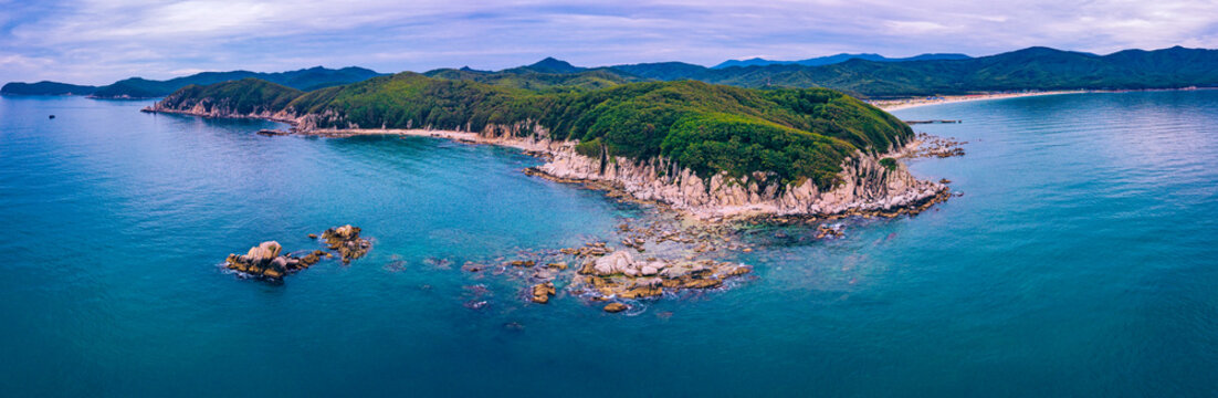 Aerial panorama of forested coastal cliffs