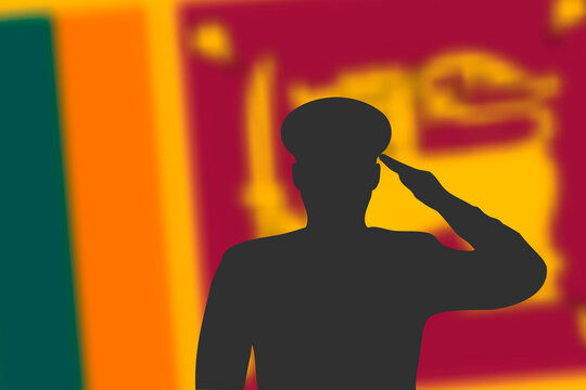 Solder silhouette on blur background with Sri Lanka flag.