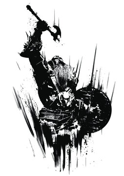 A furious, bearded, muscular berserker with an ax and a shield screams at the top of his voice, raising his weapon above his head. 2D illustration