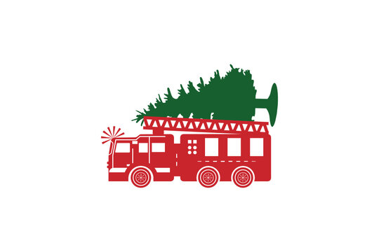 Christmas Truck svg, Christmas firetruck svg, Christmas svg, Vintage Truck svg, Merry Christmas, firetruck svg, Truck With Tree svg