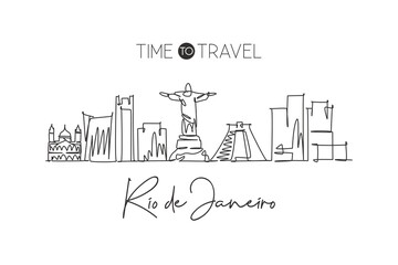 One single line drawing of Rio de Janeiro city skyline, Brazil. World historical town landscape. Best holiday destination home wall decor poster. Trendy continuous line draw design vector illustration Wall mural