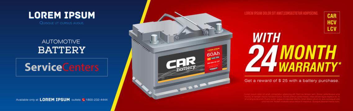 Car battery advertisement poster. 3D illustration realistic vector automobile battery. Banner. Promotion. Information. Store. Sale. Discount. Flyer print. Mock-up. Web design. Brochure.