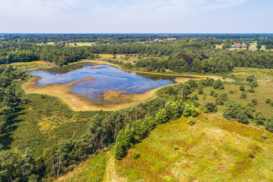 Aerial view of partly dried out lake, Buurserzand, Twente, Netherlands