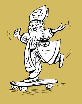 Sinterklaas skate board drawing