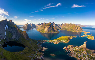 Wall Mural - Panorama of mountains, fjords and fishing villages in Lofoten islands, Norway