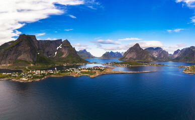Wall Mural - Reine fishing village surrounded by high mountains on Lofoten islands