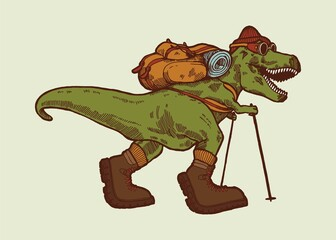 Hiking dino. T-rex dinosaur traveler with a back pack, trekking poles and hiking boots. Isolated vector illustration. Wall mural
