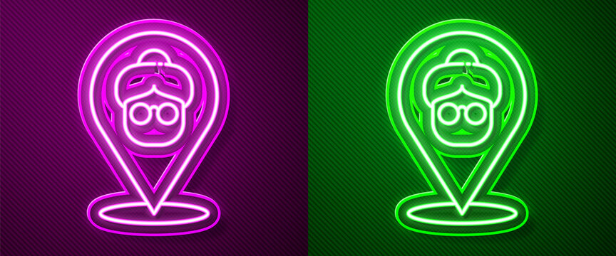 Glowing neon line Nursing home building icon isolated on purple and green background. Health care for old and sick people. Center for retired people. Vector.