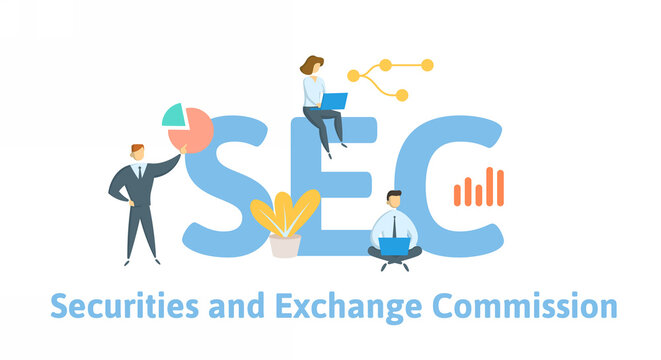 SEC, Securities and Exchange Commission. Concept with keywords, people and icons. Flat vector illustration. Isolated on white background.