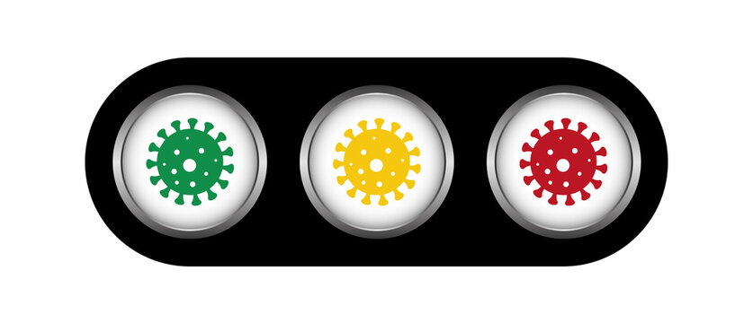 Corona Covid19. virus scale alert levels traffic light colors green yellow red, infection increase decrease warning