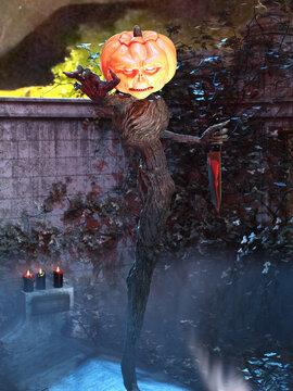 3D Photo of a Scary Halloween Pumpkin Head