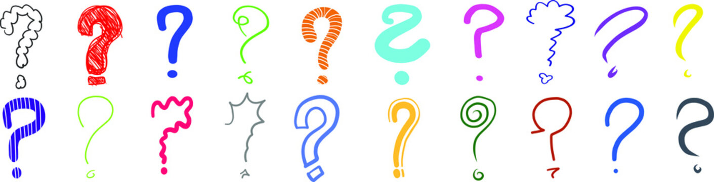 Question marks ? interrogation point query sign asking questions symbol multi colored hand drawn sketches scribbles vector illustration