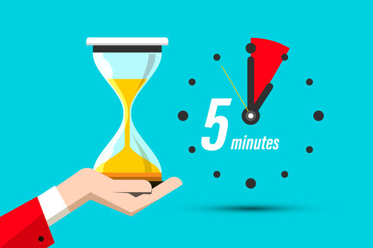 Five Minutes Clock Icon with Hourglass in Hand