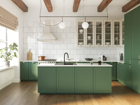 3d rendering of a green and beige rustic country kitchen with white tiles, an island and wood logs on ceiling