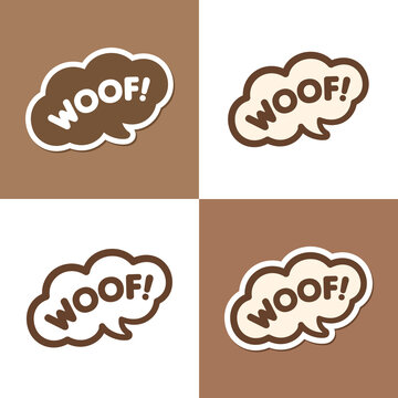 Woof! text in a speech bubble balloon design set. Cartoon comics dog bark sound effect and lettering. Simple flat vector illustration on white or brown background.