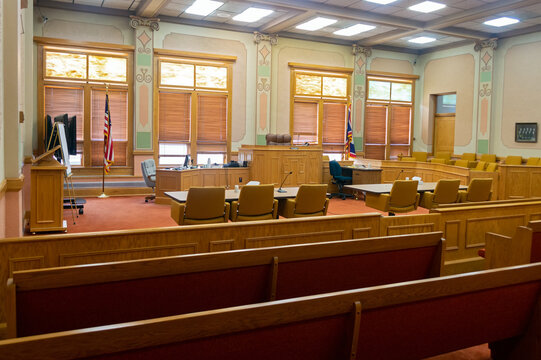 Kemmerer, Wyoming - July 24, 2014: A Courtroom in the Lincoln County Courthouse