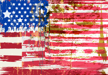 abstract background design, USA flag, with paint strokes, splashes, stars and stripes, grungy
