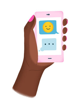 Black hand holding a phone with happy emoji