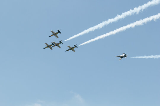 Bangkok, Thailand-March 23, 2013:The Acrobatic Breitling Jet Team performed at the event of Breitling Jet Team Under The Royal Sky at Royal Thai Air Force Base Donmuang by L-39C Albatross jet trainer