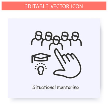 Situational mentoring line icon.Educational performance. Objective mentoring. Guidance consulting in business, finance or management. Graduation ceremony. Isolated vector illustration.Editable stroke