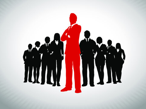 Leader in front of large team of successful executives. A large team of successful executives in silhouettes led by a great leader in red who stands in front of them.