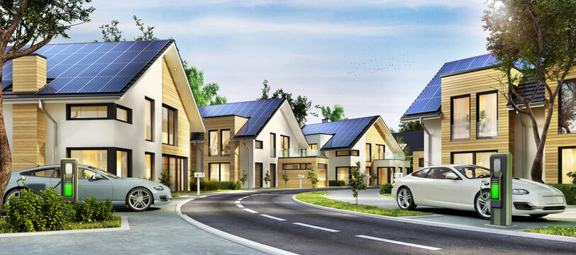 A street of new homes with solar panels on the roof and electric vehicles