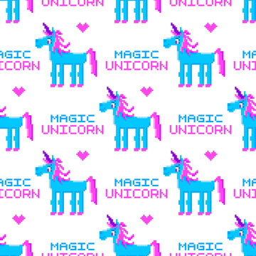 Seamless pattern with Magic Unicorn, in the eight bit style, on a white background. Beautiful print for packaging, wrapping paper, textile, home decor etc.