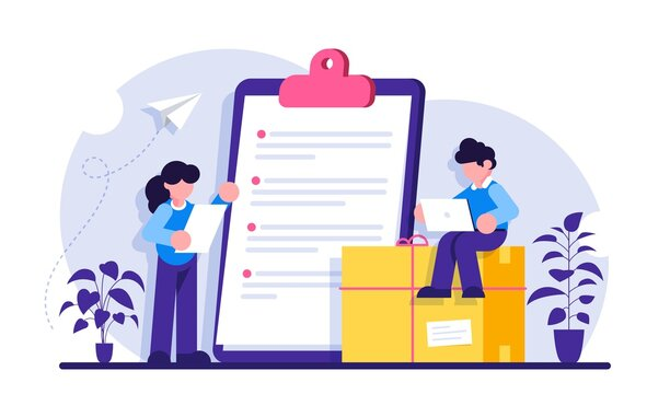 Shopping information website UIt. Online retailer website menu. International delivery details, customer information, user experience, shipping cost. Modern flat illustration.