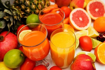 Fruit and vegetable juices on a white background