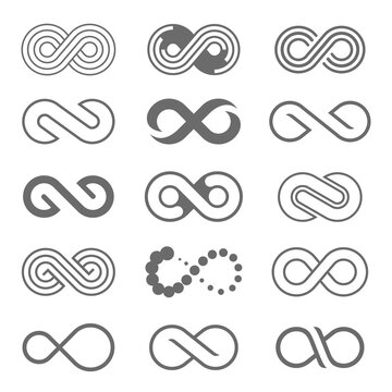 Set of infinity loop logo icon. Unlimited, endless symbol.