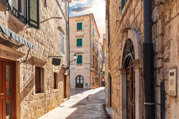 Traditional narrow street in Europe, Old Town of Kotor, Montenegro