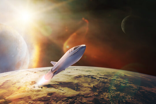 Starship in low-Earth orbit. Elements of this image furnished by NASA.