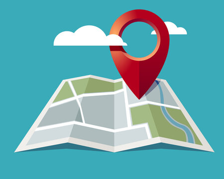 Map locator icon. Pin location on map