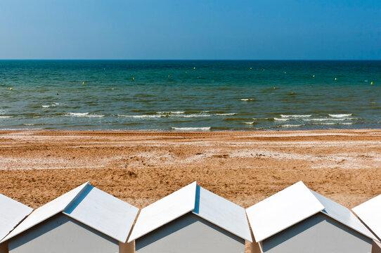 Beach huts, Cabourg, Calvados, Normandy, France