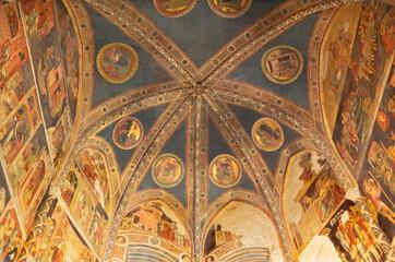 PARMA, ITALY - APRIL 16, 2018: The medieval fresco of the Valeri chapel in Duomo by Bartolino de Grossi (1430 - 1440).