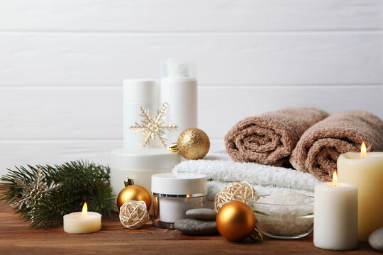 spa composition on the table and Christmas accessories. Relaxation care products. Skin care